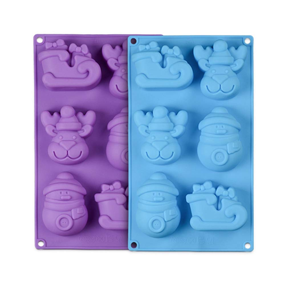 Christmas Molds Silicone Candy Chocolate Soap Mold 2PCS Shape of Reindeer Sleigh and Snowman Mold