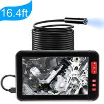 Inspection Camera Industrial Endoscope Borescope 1080P HD 4.3inch LCD Screen 2600mAh Rechargeable Battery IP67 Waterproof Video Recording [2019 Upgraded] Handheld Endoscope 32GB (5m/16.4ft) (Black)