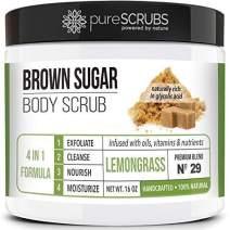 pureSCRUBS Premium Organic Brown Sugar LEMONGRASS FACE & BODY SCRUB Set - Large 16oz, Infused With Organic Essential Oils & Nutrients INCLUDES Wooden Spoon, Loofah & Mini Exfoliating Bar