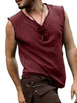 Mens Pirate Costume Medieval Renaissance Linen Sleeveless V Neck Tank Tops Viking Casual Beach T Shirts