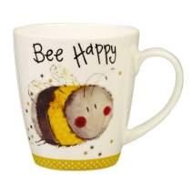 Alex Clark AC Sparkle Cherry Bee Happy Mug 360ML OP STK 6, Ceramic, Multi-Colour, 8.9 x 8.9 x 9.5 cm