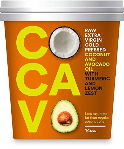 Cocavo, Extra Virgin Coconut Oil, Extra Virgin Avocado Oil, with Turmeric & Lemon 14oz