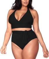 Pink Queen Women's Halter Plus Size Two Piece Swimsuits High Waisted Bikini Set Swimwear