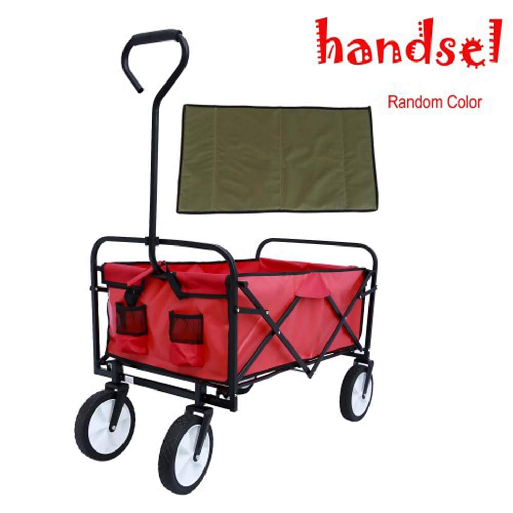 Lovinland Collasible Folding Wagon Cart,Outdoor Shopping Utility Cart Beach Wagon Heavy Duty Garden Wagon Cart for Shopping Camping and Outdoor Activities (Red)