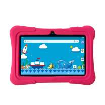Pritom 7 inch Kids Tablet | Quad Core Android,1GB RAM+16GB ROM | WiFi,Bluetooth,Dual Camera | Educational,Games,Parental Control,Kids Software Pre-Installed with Kids-Tablet Case (Pink)