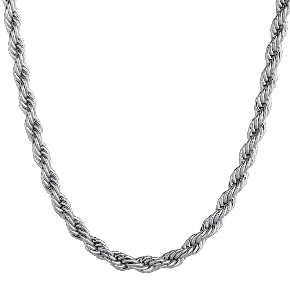 KRKC&CO 14k Gold Chain for Men, Rope Chain, Solid No Tarnish Chain Necklace Durable Urban Street-wear Hip Hop Jewelry for Men & Women 3mm 6mm, 20 22 24 inches