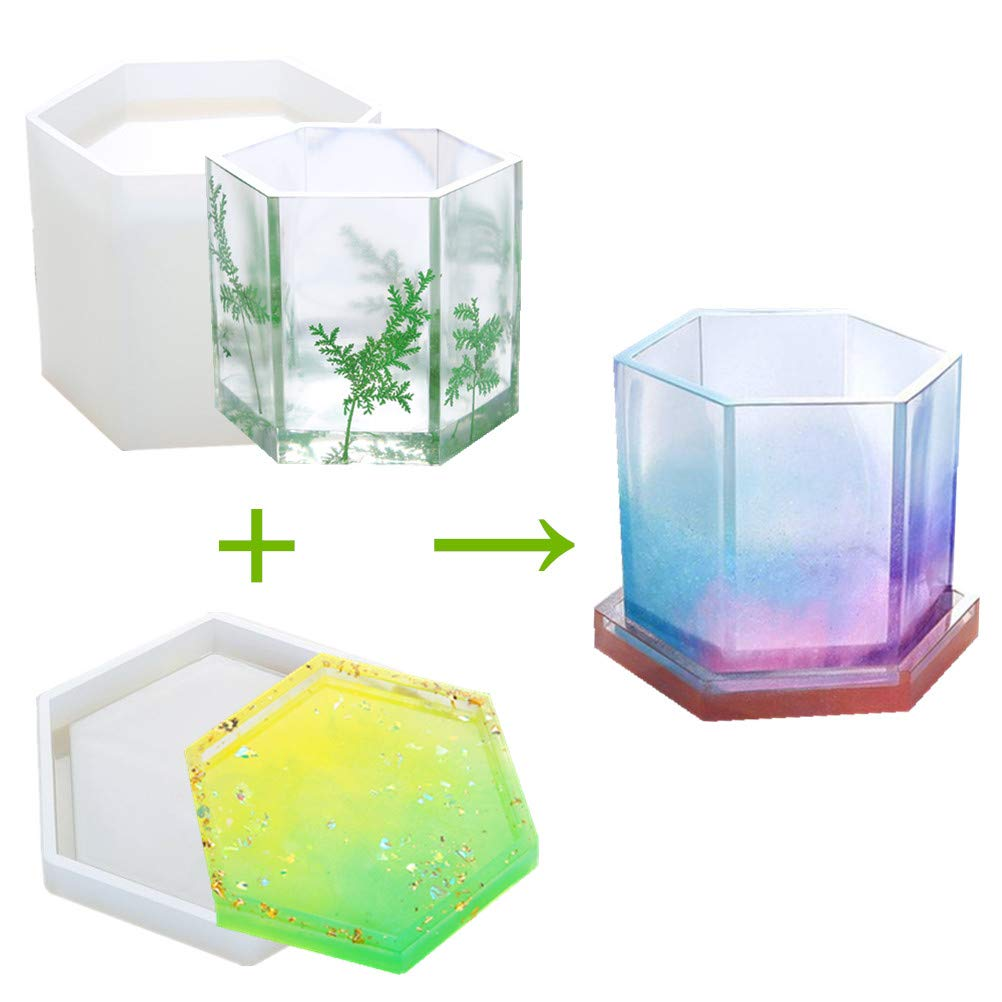 Big Hexagonal Prism Epoxy Resin Silicone Molds - DIY Pen Holder Mold & Silicone Coaster Molds Set, Clear Flower Pot Molds for Casting Succulent Plants Pot and Other Art Craft, Sold by MeiMeiDa