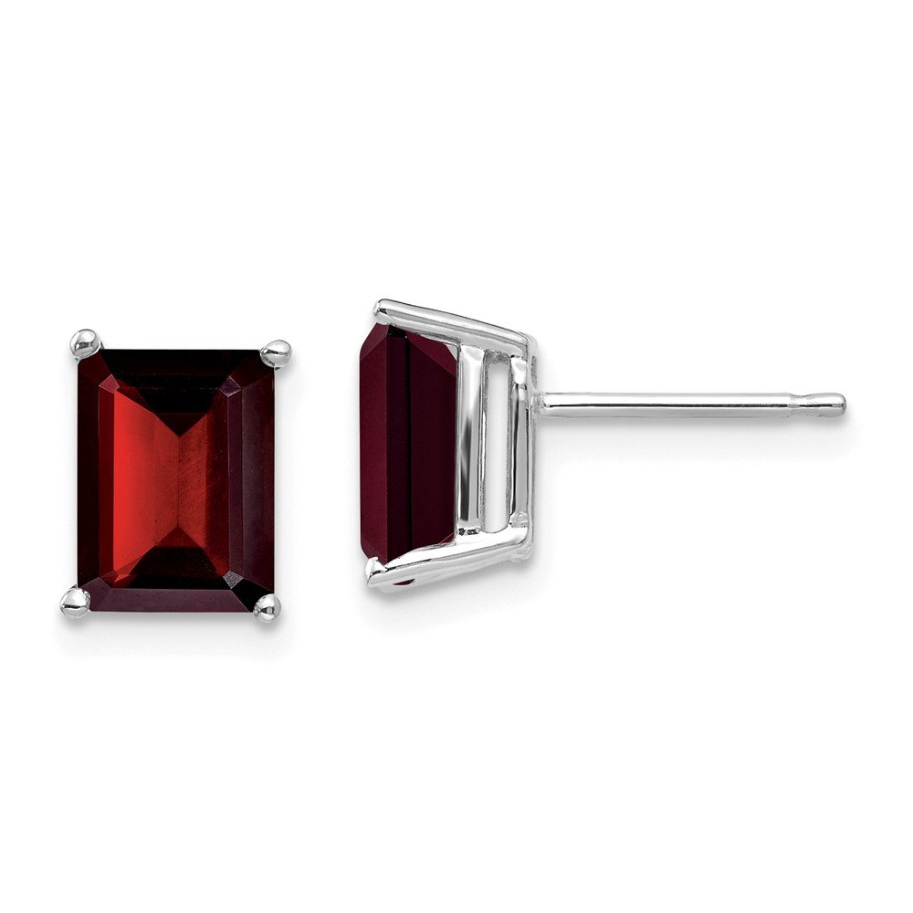 14k White Gold 8x6mm Red Garnet Post Stud Earrings Birthstone January Gemstone Fine Jewelry For Women Gifts For Her