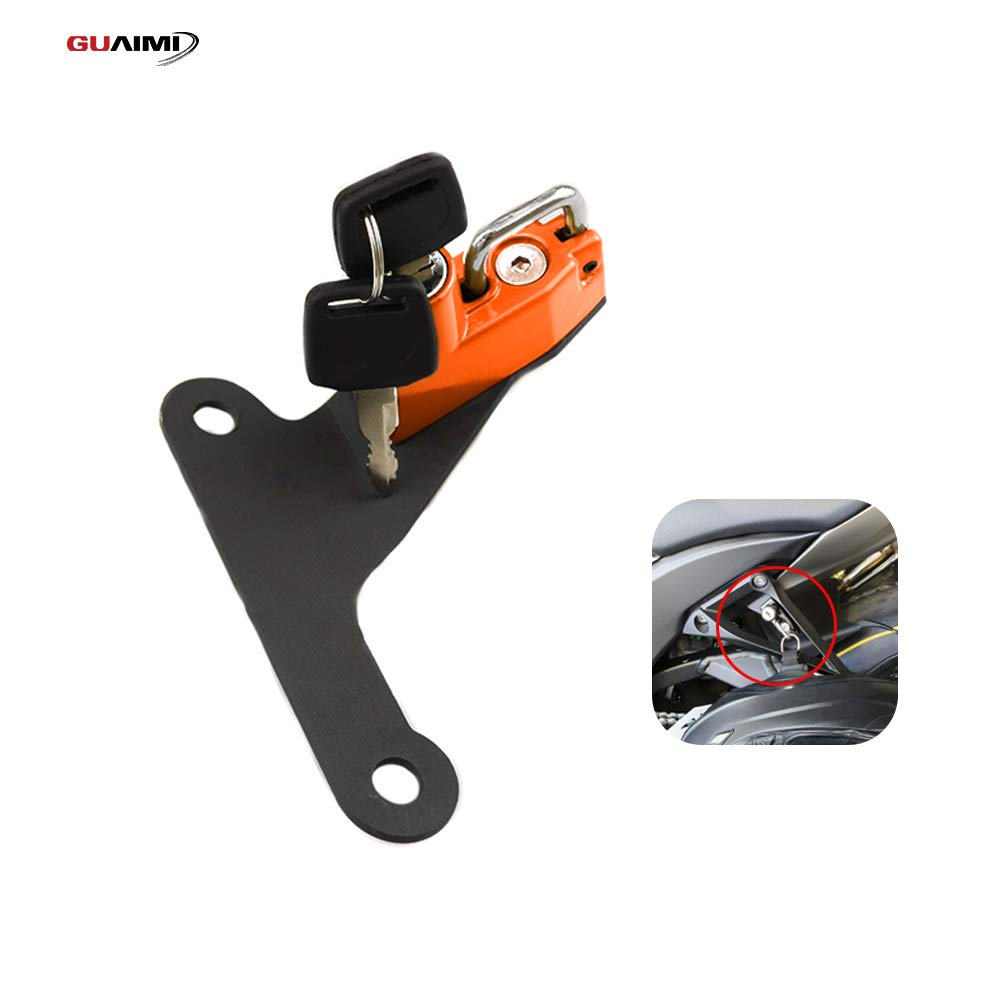 GUAIMI Motorcycle Anti-Theft Helmet Lock with Keys for Kawasaki ZX-10R 2016-2017-Orange