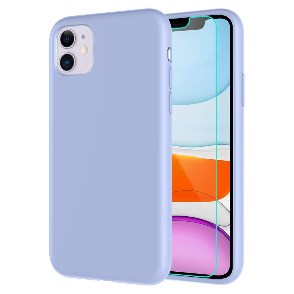 Caka Soft Silicone Case for iPhone 11 Liquid Silicone Case Gel Rubber Protective Bumper Shockproof Microfiber Lining Hard Shell Case Cover for iPhone 11 inch (6.1 inch)(Clove Purple)