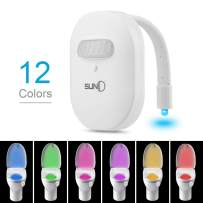 SUNY LED Toilet Night Light, 12 Colors Human Sensor Activated Detection Smart Nightlight w/Flexible Arm Fit Any Toilet, IP67 Waterproof Bathroom Bowl Light Best Gifts for Children Teen Kids Adults Ag