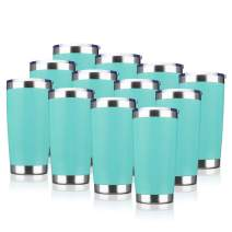 EcoMozz 20oz Tumbler Stainless Steel Vacuum Insulated Mug with Lid, Double Wall Travel Mug, Durable Powder Coated Coffee Cup, Suitable for Ice Drinks and Hot Beverage (Light blue 12pack)