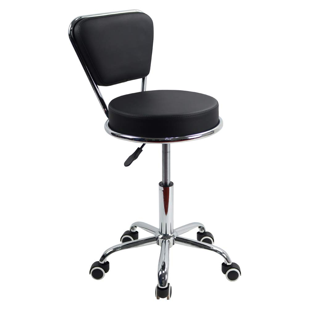 KKTONER PU Leather Swivel Rolling Stool Height Adjustable Modern Cushion Home Office Desk Chair with Back (Black)