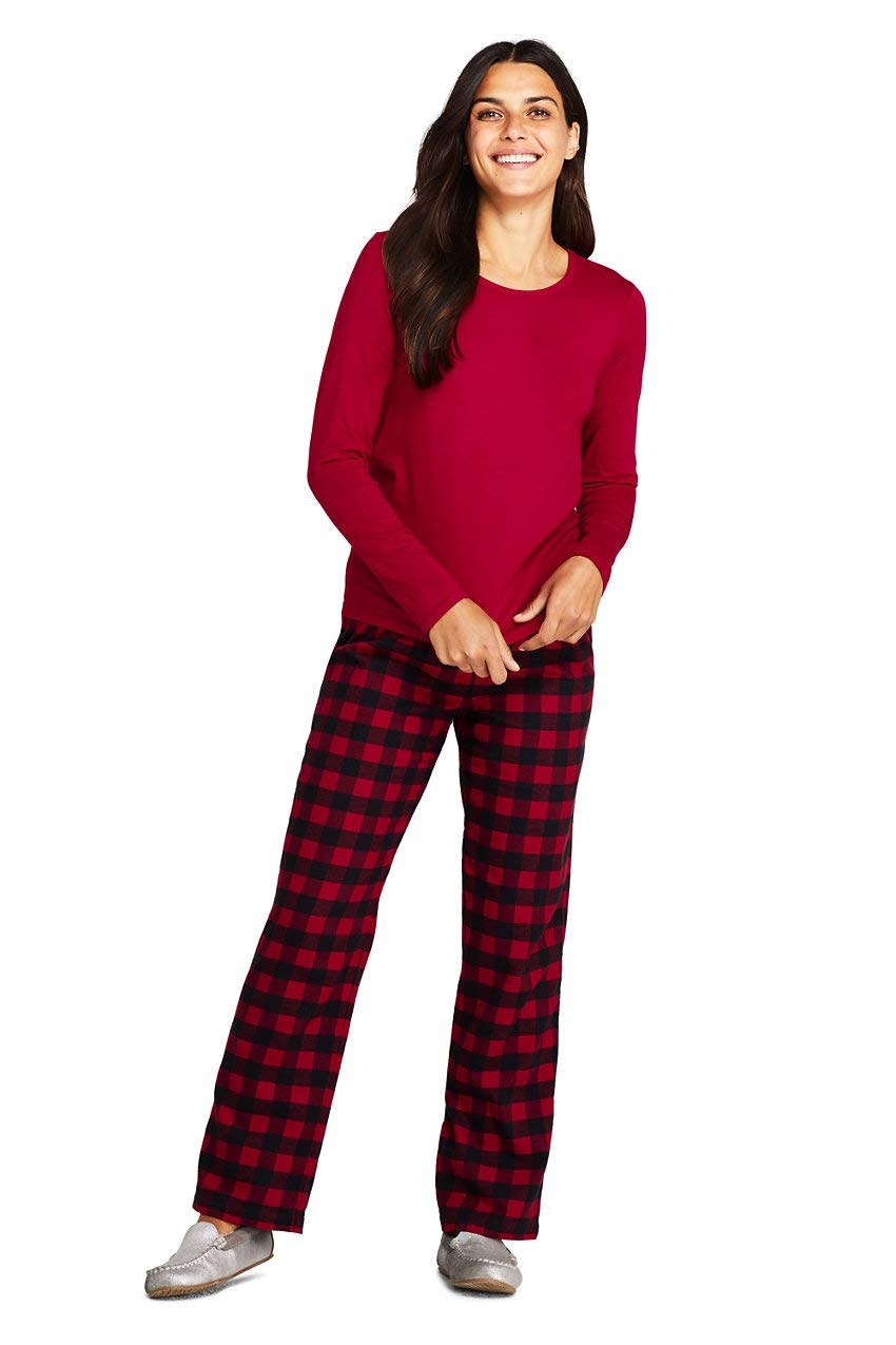 Lands' End Women's Pajama Set Knit Long Sleeve T-Shirt and Flannel Pants