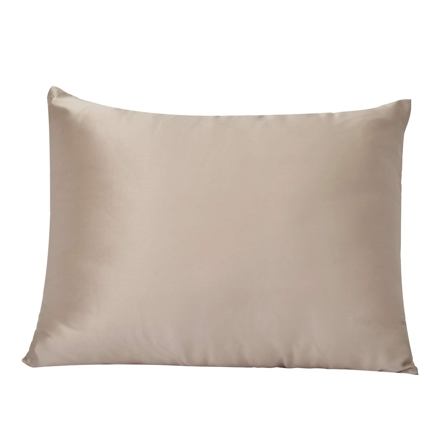 BIGHAS 100% Mulberry Silk Pillowcase for Hair and Skin with Hidden Zipper, Soft Breathable Natural Both Side 19 Momme Silk, 600 Thread Count (Camel, Standard 2026inches)