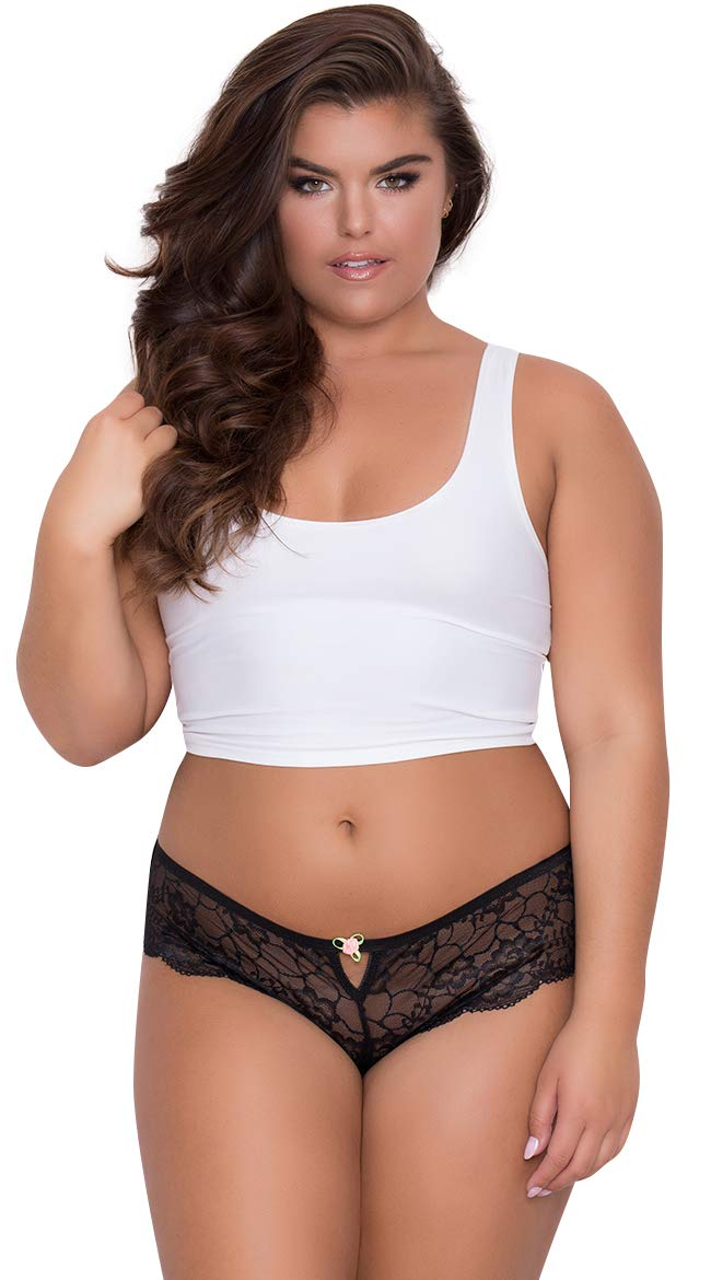 Yandy Plus Size Soft High Waist Floral Lace Women Thong with Front Keyhole