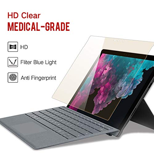 PERFECTSIGHT Screen Protector for Surface Pro 6 12.3 inch, [HD Clear Medical Device, Anti 6 Harmful Radiations] Blue Light Filter Anti Fingerprint Tempered Glass [Surface Pen Compatible]
