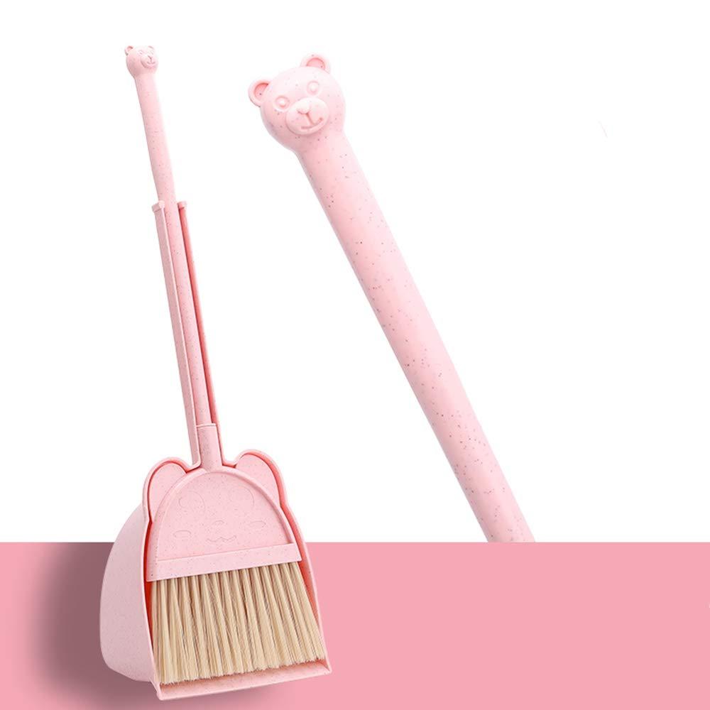 MAYEV Mini Broom with Duspan for Kids,Little Housekeeping Helper Set (Pink)