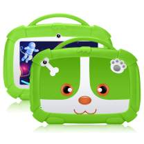 QIMAOO Kids Tablet 7 inch,GMS-Certified Android 9.0 and Kids-Mode Dual System,Quad Core,1GB RAM,16GB ROM,Dual Camera,Full HD Screen,Google Play and Learning App for Children Green