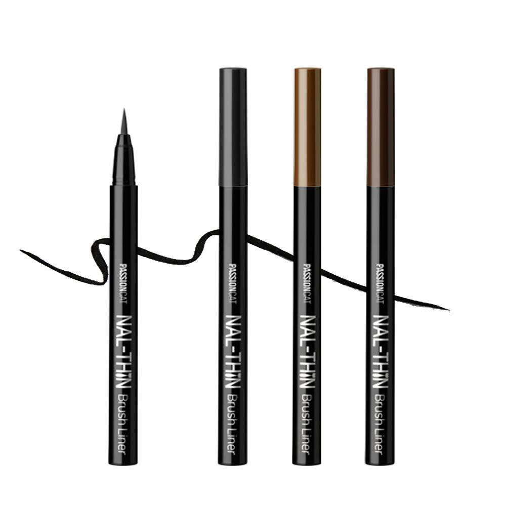PASSIONCAT Super Slim Multi-proof Liner (Brush Type, Black) - Ultra Slim Ink Liner Waterproof Liquid Eyeline Easy to Draw Long Lasting