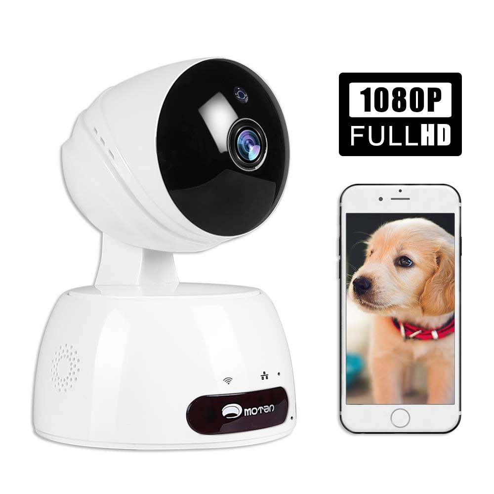 Pet Dog Camera, WiFi Home Security Camera with Phone App, 1080p Cat Camera Full HD Indoor Camera, Pet Monitor with Night Vision 2 Way Audio Motion Detection Alexa (White)