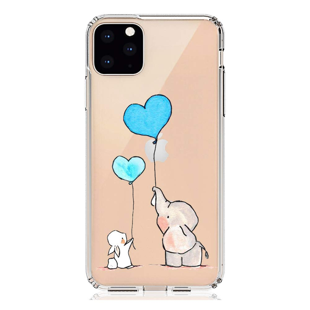 """HUIYCUU Compatible with iPhone 11 Pro MAX Case 6.5"""", Shockproof Anti-Slip Cute Animal Clear Design Pattern Funny Slim Soft Bumper Girl Women Cover Case for iPhone 11Pro Max/XI Pro MAX, Bunny Elephant"""