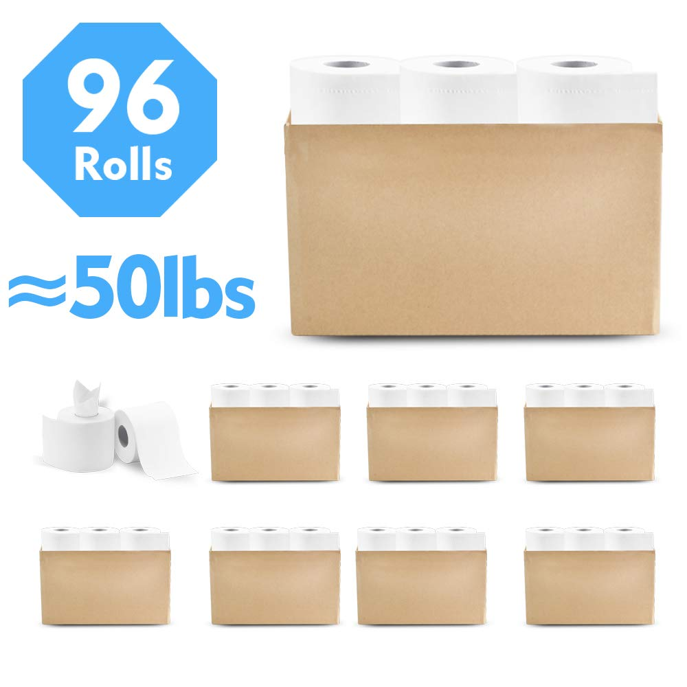 YAWALL 4-Ply Professional Premium Toilet Paper, Ultra Soft Absorbable Hand Paper Towels Tissue for Daily Use, Home&Kitchen Bathroom Living Room (White, 308 Sheets Per Roll, 96 Rolls)