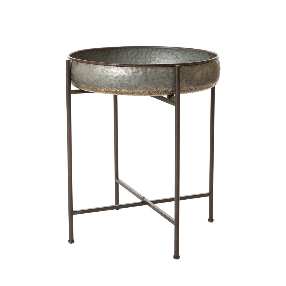 Glitzhome Rustic Tray Accent Galvanized End Table Metal Sofa Side Table Indoor Outdoor Plant Stand Storage Shelf