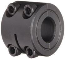 """Climax Metal D2C-012 Two-Piece Clamping Collar, Double Wide, Black Oxide Plating, Steel, 1/8"""" Bore, 11/16"""" OD, 5/8"""" Width"""