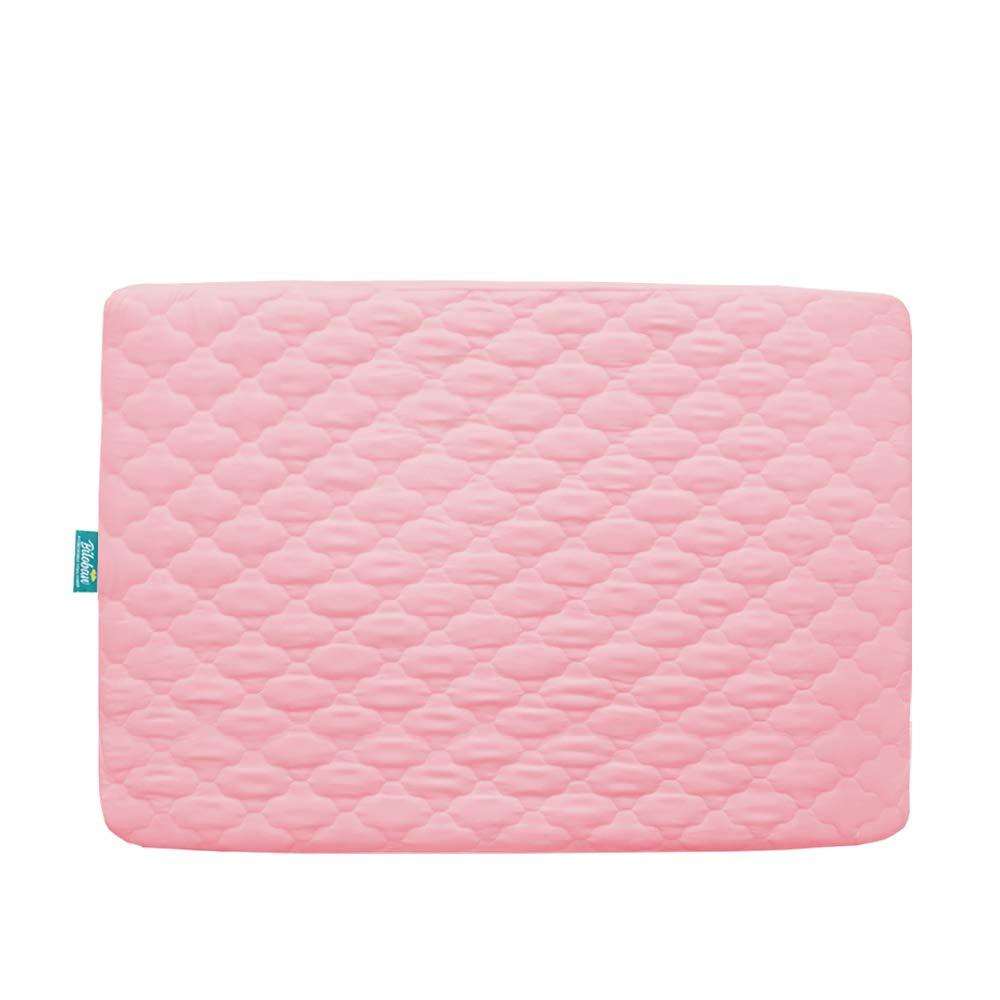 "Pack n Play Mattress Pad Cover, Ultra Soft Waterproof Playard Sheet|Mini Crib Sheet Quilted 39"" x 27"" fits for Baby Foldable and Playard Mattress, Portable Mini Crib, Pink"