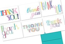 Note Card Cafe Thank You Cards with Aqua Blue Ocean Envelopes | 36 Pack | Rainbow Letters Thank You | Blank Inside, Glossy Finish | for Greeting Cards, Occasions, Birthdays, Gifts
