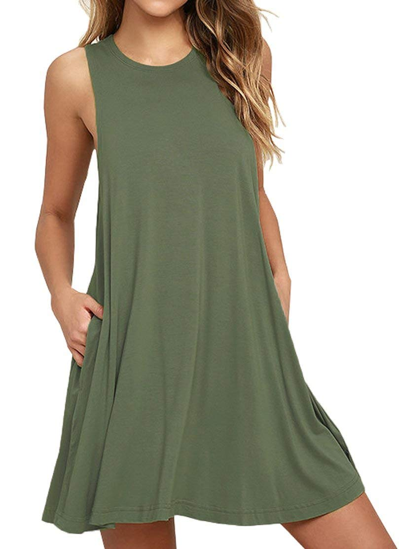 CLANDY Loose T-Shirt Dress, Womens Casual Loose Round Neck Solid A-Line Mini Plain Swing Sleeveless Tank Sundress with Pockets ArmyGreen Size XXL