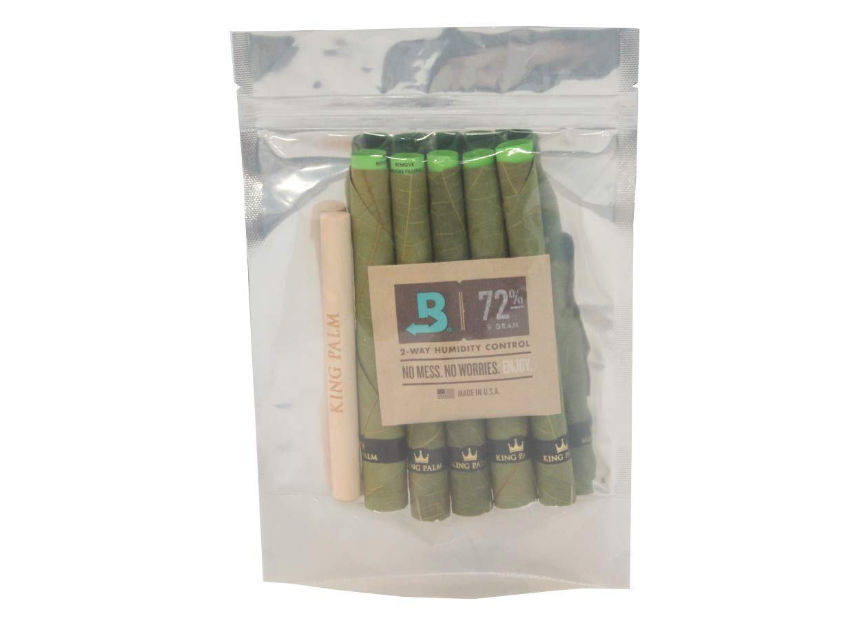 King Palm KING XXL Size Natural Pre Wrap Palm Leafs (1 PACK OF 5, 5 ROLLS TOTAL) - Pre Rolled Cones - All Natural Cones - Corn Husk Filter - Preroll Cones - Prerolled cones with Filter - Organic Cones