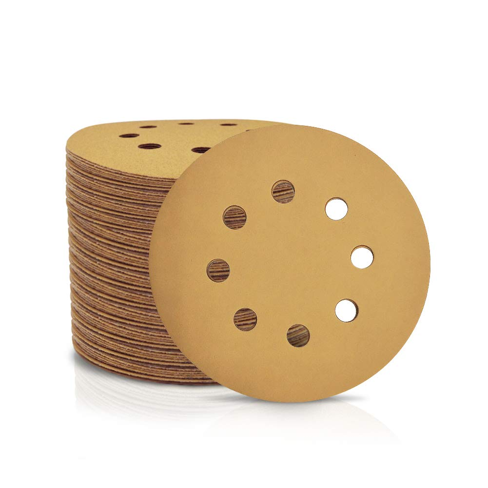 SPEEDWOX 100 Pcs 5 Inches 8 Hole Sanding Discs 320 Grit Dustless Hook and Loop Sandpaper for Random Orbital Sander Yellow Finishing Discs for Automotive Woodworking