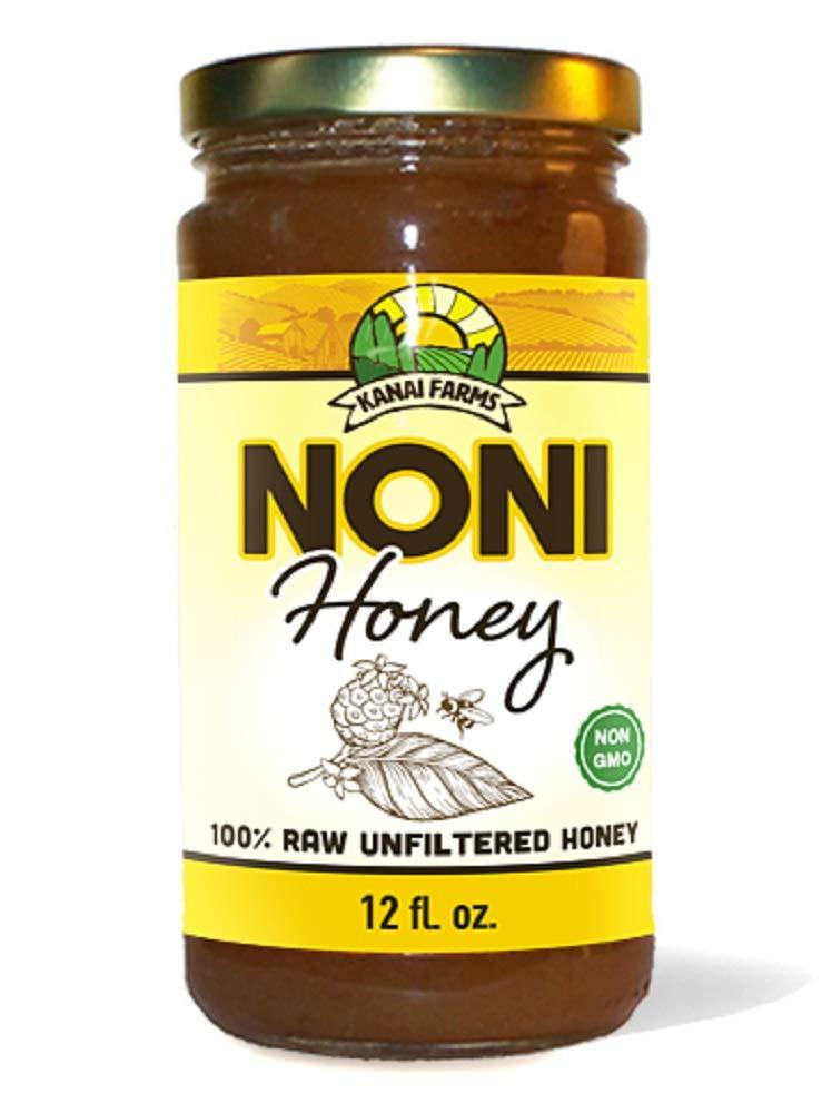 Noni Honey - 100% Pure, Raw, Unfiltered, Unprocessed - 12oz Glass Bottle
