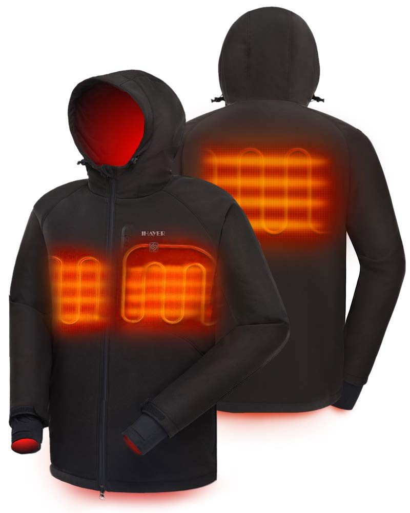 IHAYNER Men's Soft Shell Heated Jacket with Battery Pack and Hood Dual-Zipper Multi-Pockets Outdoors Waterproof Warm Winter Jackets - XXL