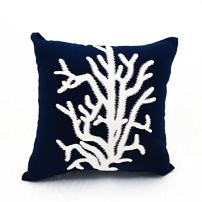 KainKain White Navy Throw Pillow Cover, Coral Tree Ocean Decor, Nautical Embroidered Cotton Linen Cushion, Beach House Sofa Pillow (16 inch x 16 inch)