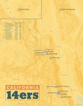 California 14ers Map 11x14 Print (Yellow Orange)