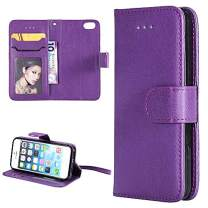 iPhone 5 5s Se Wallet Case,MOLLYCOOCLE Solid Color PU Leather Flip Folio Wallet Case for iPhone 5&5s&Se with Lightwight Slim Shockproof TPU Bumper Cover - Women Girls Purple