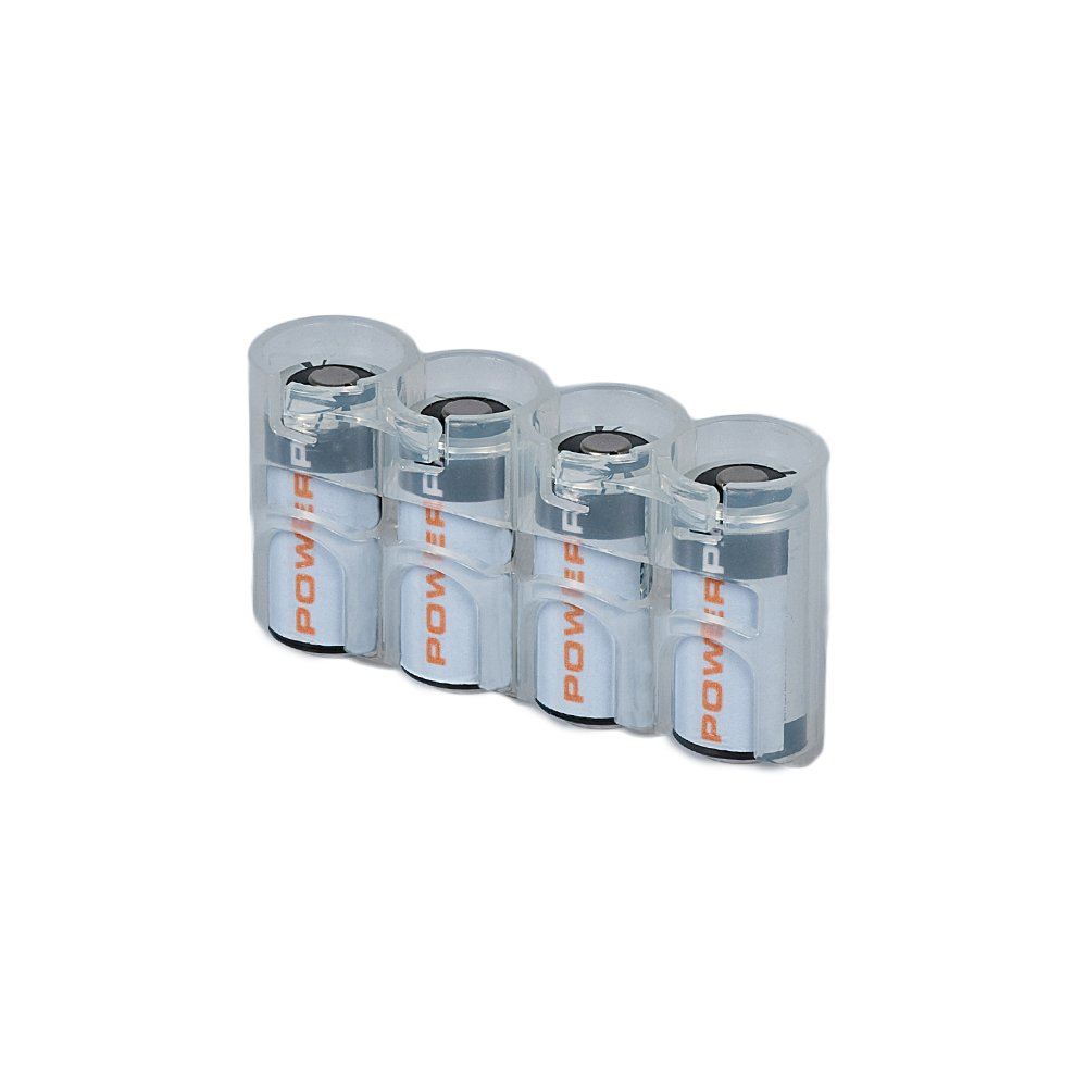 Storacell by Powerpax SlimLine CR123 Battery Caddy, Clear, Holds 4 Batteries