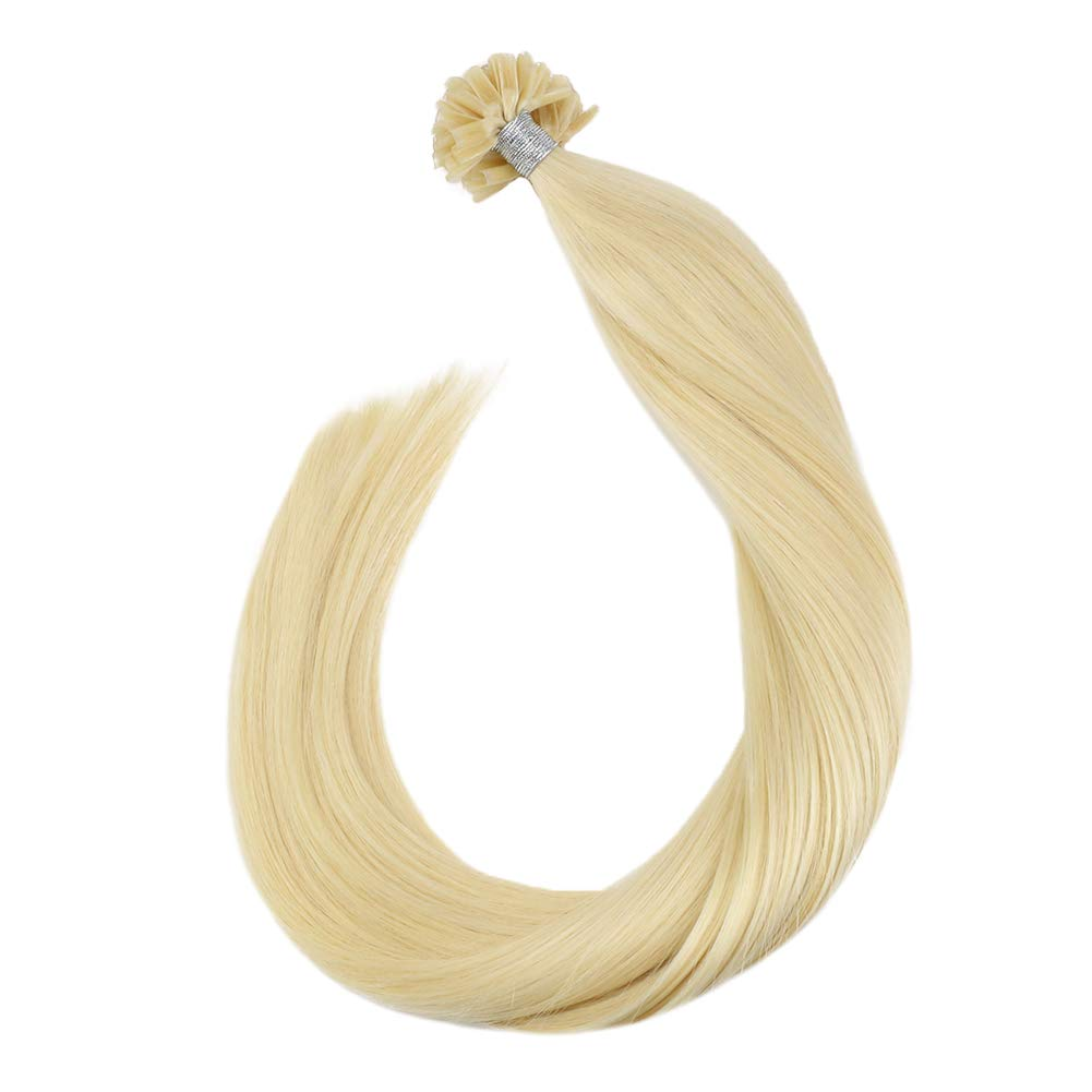 [Save 10% for two pieces]Ugeat Real Hair Extensions 16inch Utip Keratin Hair Extensions Bleach Blonde Prebonded Tipped Fusion Hair Extensions 50g 50Strands Nail U Tip Hair Extensions
