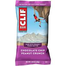CLIF BARS - Energy Bars - Chocolate Chip Peanut Crunch - Made with Organic Oats - Plant Based Food - Vegetarian - Kosher (2.4 Ounce Protein Bars, 12 Count)