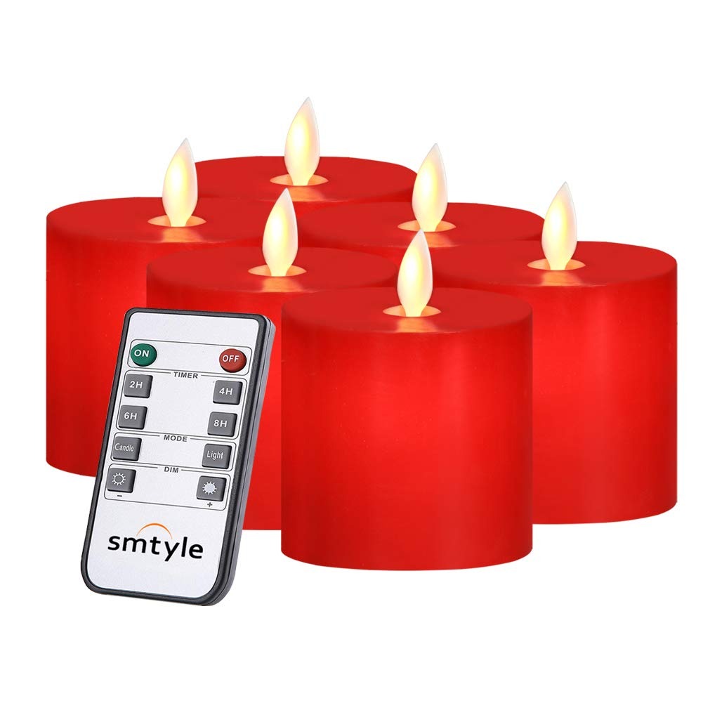 smtyle Red Flameless Candles Battery Operated Flickering Light with Remote for Room Decor or for Fireplace Candelabra 3x3 in Pack of 6