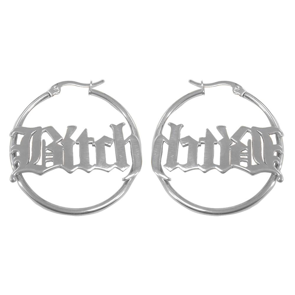 SENFAI Stainless Steel Circle Hoop Earrings for Women Name Jewelry Custom to Say Any Word