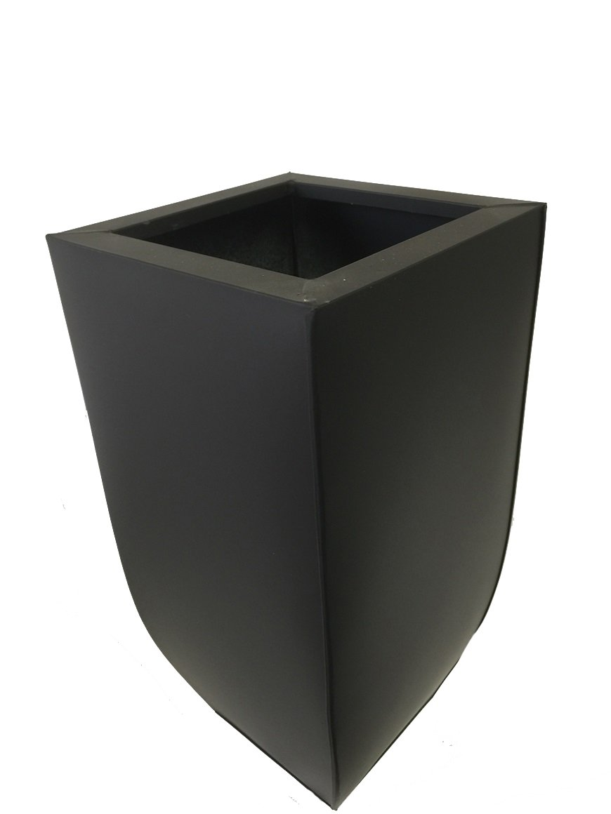 "PMJC Inc 16"" Black Zinc Galvanized Metal Tall Taper Planter Container"