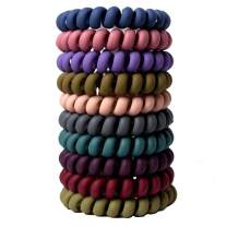 Spiral Hair Ties No Crease, Colorful Traceless Hair Ties, Elastic Coil Hair Ties for Women Girls, Matte Phone Cord Hair Ties, Waterproof Hair Coils for for Any Kinds of Hair