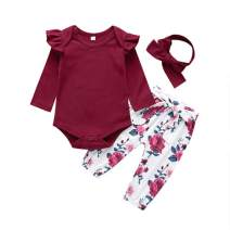 2020 Baby Girls Long Sleeve Flowers Hoodie Tops and Pants Outfit with Headband(Red,90 (6-12 Months))