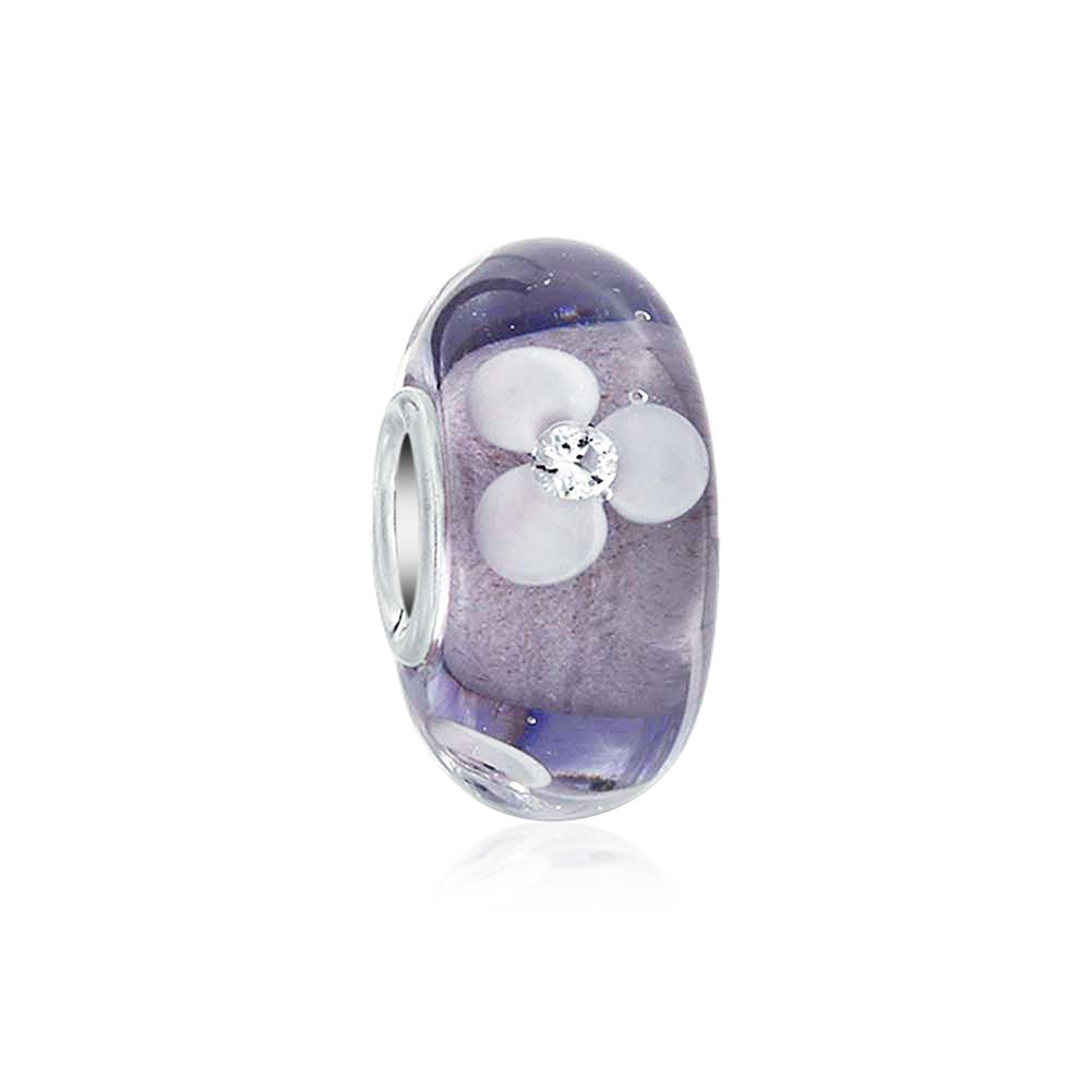 Floral Murano Glass Flower Spacer Bead Fits European Charm Bracelet For Women Teen 925 Sterling Silver More Colors
