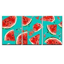 """wall26 - 3 Piece Canvas Wall Art - Juicy Watermelon. Watercolor Seamless Pattern. - Modern Home Decor Stretched and Framed Ready to Hang - 16""""x24""""x3 Panels"""