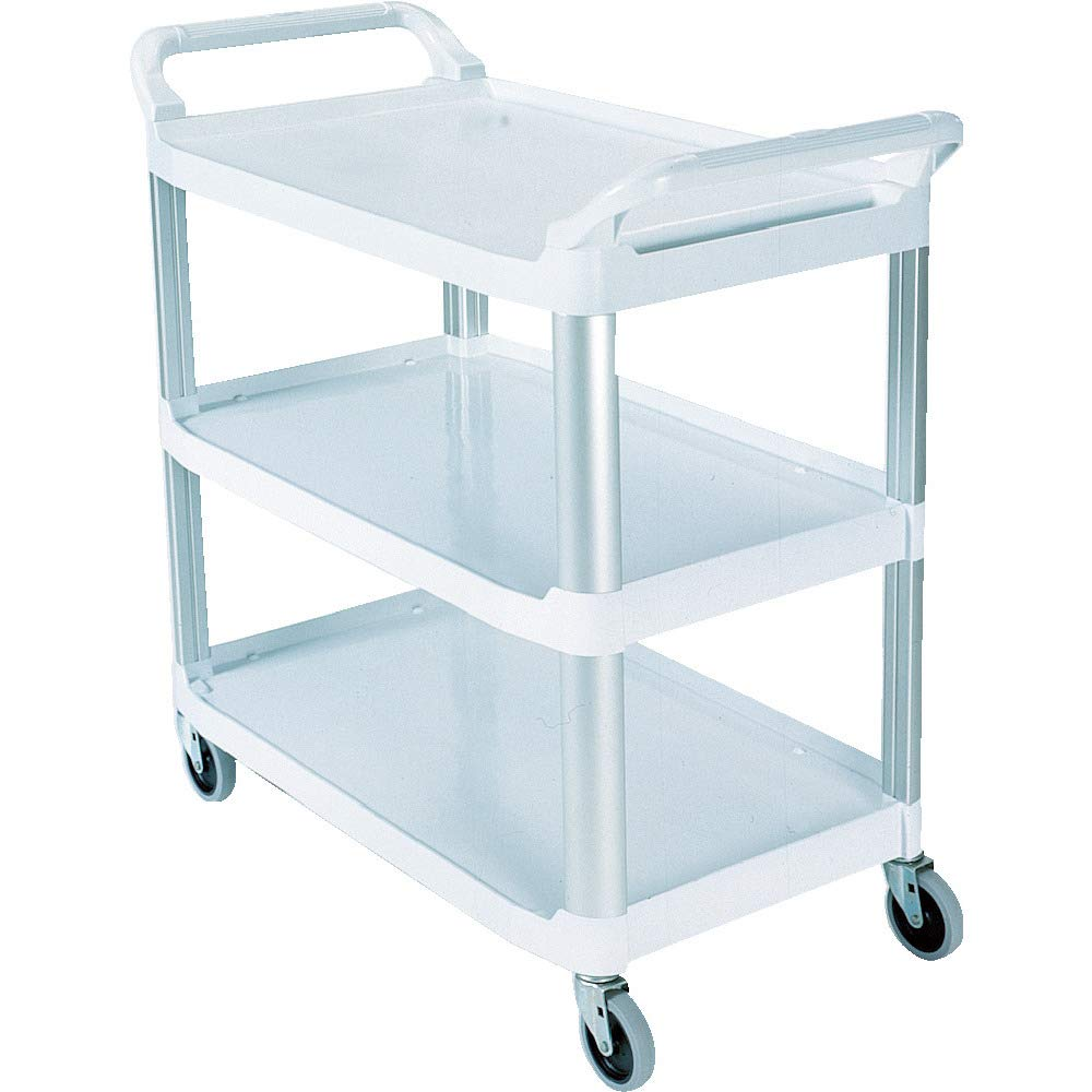Rubbermaid Commercial Products Heavy Duty 3-Shelf Rolling Service/Utility/Push Cart, 300 lbs. Capacity, White, for Foodservice/Restaurant/Cleaning (FG409100OWHT)